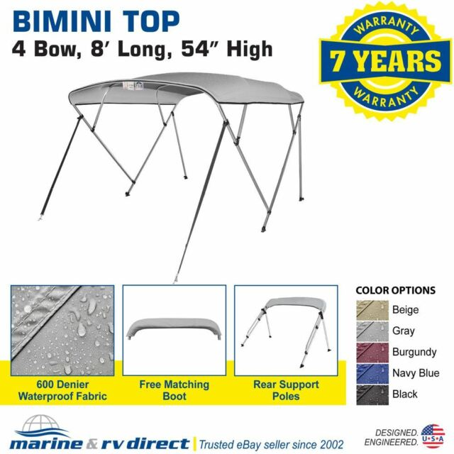 """4 Bow Boat Bimini Tops Boat Canopy Boat Shade with Support Pole Boot Grey 91-96/"""""""