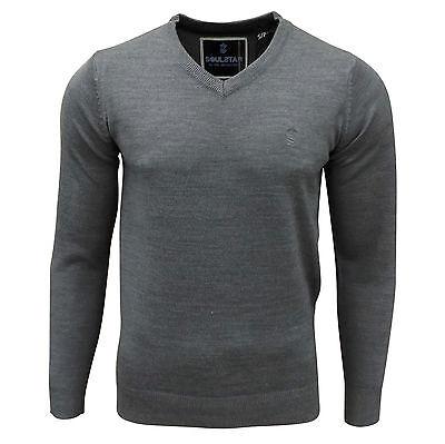 Soul Star Men's Alpha Vee V-Neck Knitted Jumper Grey