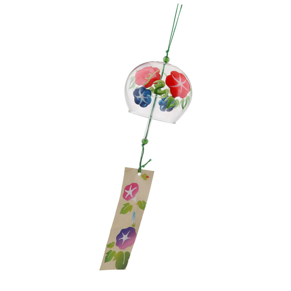 2x Hand Painted Glass Wind Chimes Wind Bell Home Garden Decor Craft Ornament