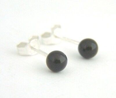 925 Sterling Silver 4mm Round Small Plain Black Bead Ball Studs Earring BOX Bday