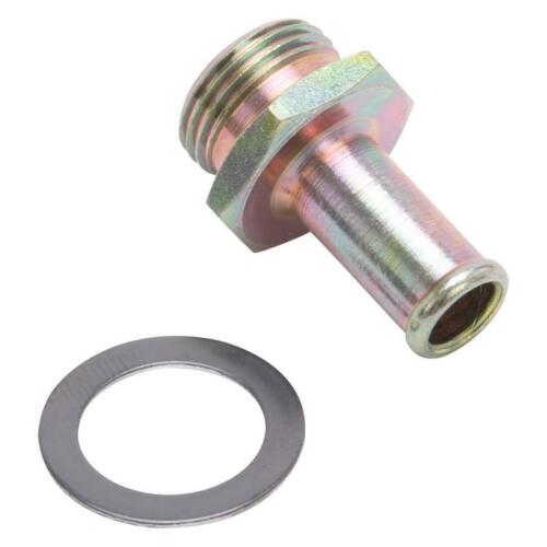 "Edelbrock Carburetor Fuel Inlet Fitting 1497; Gold Iridite 3//8/"" Hose to 5//8/""-20"