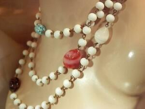 Awesome-Vintage-1920-039-s-White-and-Colorful-Art-Glass-Flapper-Necklace-77JL9