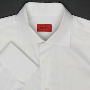 Isaia-Napoli-Mens-Dress-Shirt-16-5-36-Solid-White-Button-Front-French-Cuff-Italy