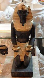 Personaggio egiziano tutenchamun faraone scultura EGITTO Ramses lumino da tè supporto f110