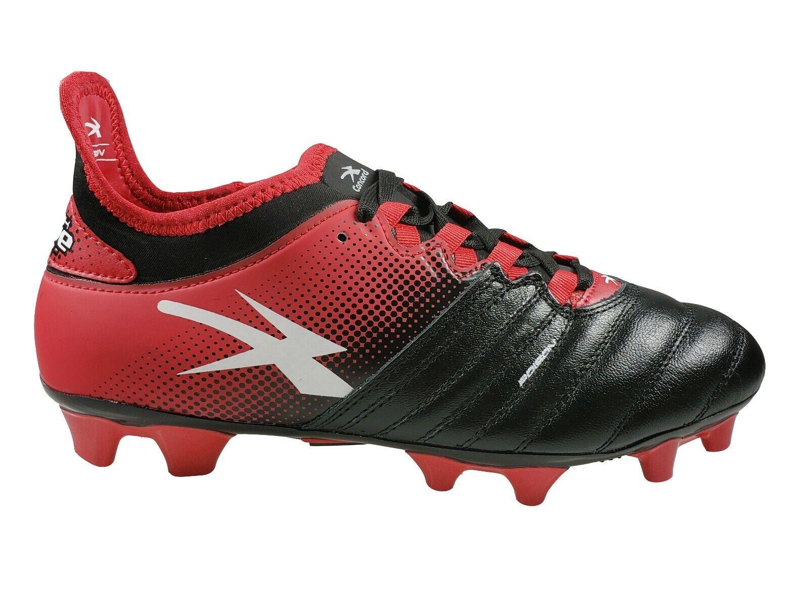 Men's Concord Botines De Fútbol De Cuero Estilo S170XR Negro Rojo
