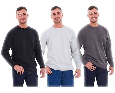 New Mens Plain Knitted Crew Neck Classic Full Sleeve Jumper Top Big Sizes Reich Und PräChtig