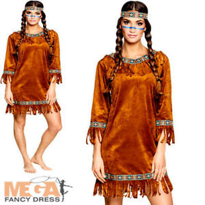 e7c58143dfa Details about Native American Ladies Fancy Dress Red Indian Wild West  Womens Adults Costume