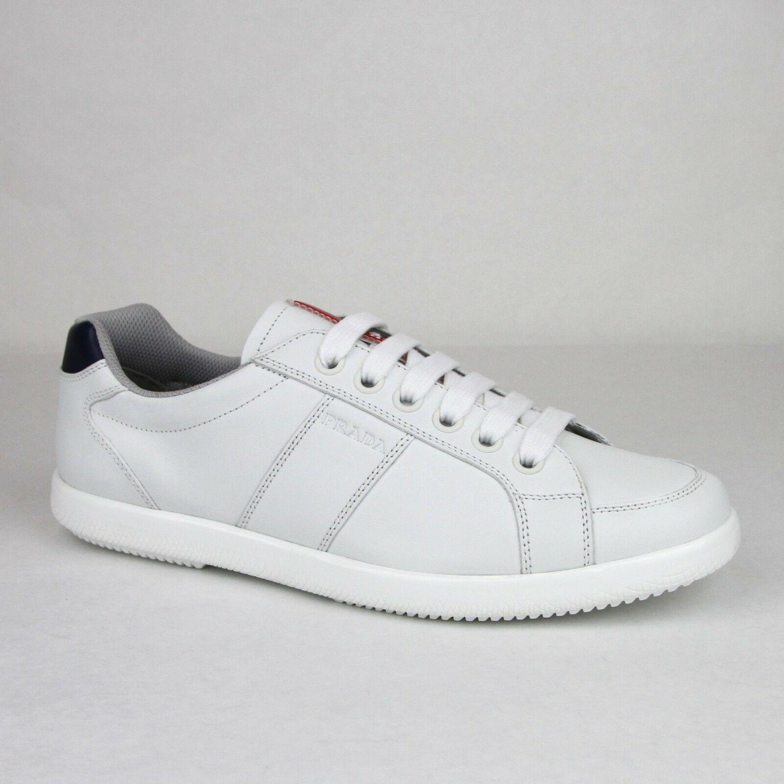 1019567b New Prada White 4E2845 Imprint Logo with Sneaker Leather Navy Men's ...