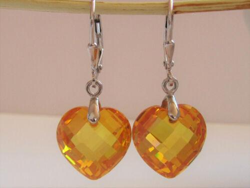 Ohrringe 925 Sterling Silber Zirkonia Herz Gold-Gelb Brisuren Ohrhänger 32mm