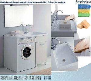 Mobile lavanderia lavabo incasso lavatrice 105 5x60 abs bianco rigato tavoletta ebay - Mobile lavabo lavatrice ...