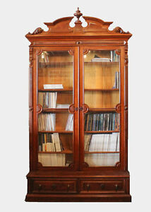 Antique victorian walnut bookcase two tall glass doors ebay image is loading antique victorian walnut bookcase two tall glass doors planetlyrics Choice Image
