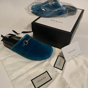 4cccf001416 NIB Gucci Blue Velvet New River Mule Slip on Loafer Flat Shoes Sz ...