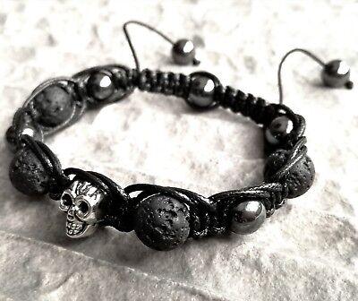 Armband Totenkopf massiv Silber aus Edelstahl Herren Skull Männer Bracelet XXL