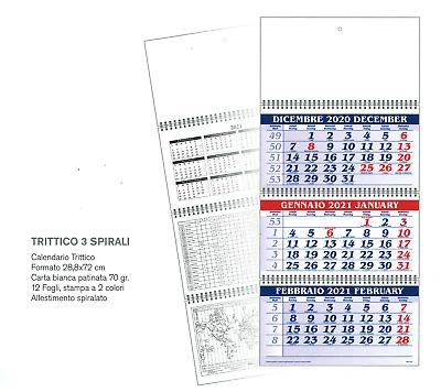 Calendario Trittico 2021 CALENDARIO 2021 TRITTICO   3 MESI   cm.29x72 OFFICINA UFFICIO
