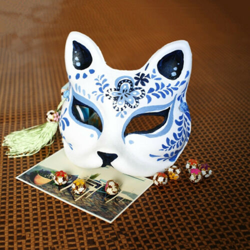 Blue Babymetal Kitsune Hand-painted Fox Half Face Halloween Costume Ball Mask