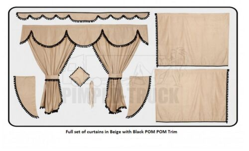 TRUCK CURTAINS MERCEDES Beige Full set of lined curtains PomPom trim
