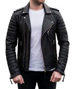 New Men/'s Genuine Lambskin Leather Jacket TAN Slim Fit Biker Motorcycle Jacket