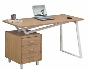Alphason-Seattle-Oak-Effect-amp-White-Steel-Frame-Desk-Home-Small-Office-AW23533