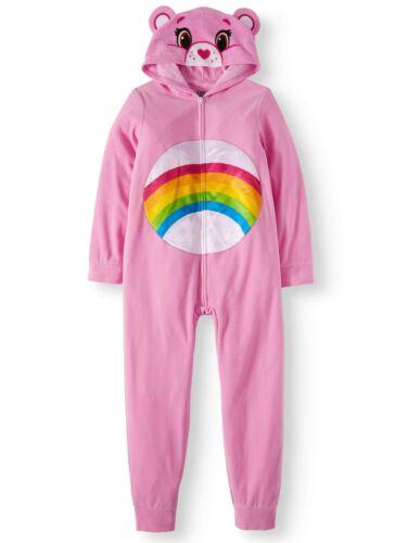 Care Bears Girl Poly Fleece 1 Piece Footless Sleeper Rainbow Heart Size 4 5 6 6X
