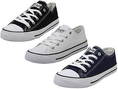 Señoras Mojo bajo plano Lona Encajes Bombas plimsolls Zapatillas Zapatos Tallas 3 - 8