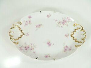 Vtg-Limoges-CH-Field-Haviland-16-034-Oval-Platter-Tray-Pink-Floral-Flower-w-Hanger