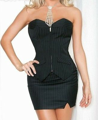 Sexy Women's Plus Size Overbust Pinstriped Black White Corset Mini Skirt 8-24