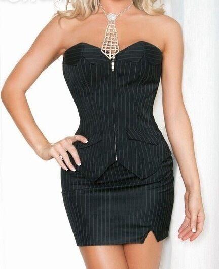 Sexy Women's Plus Size Overbust Pinstriped Black White Corset Mini Skirt 8-24