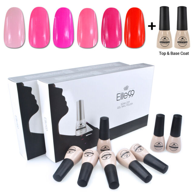 Elite99 Stylish 6 Colors + Base Top Coat Manicure Set Soak Off Nail Gel Polish