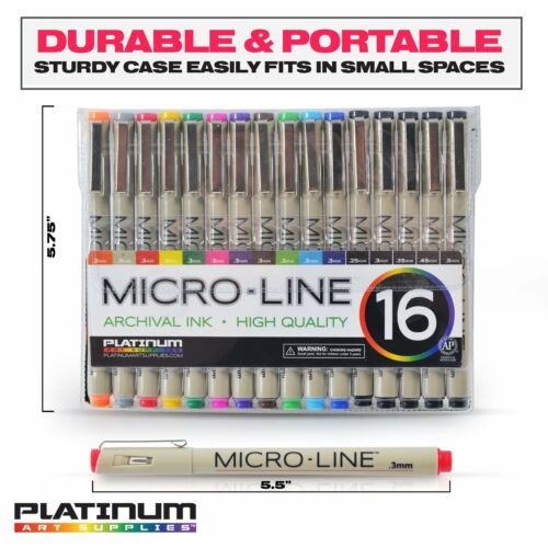 SET OF 16 Premium Micro-Line Ultra Fine Point Ink Pens Archival Ink