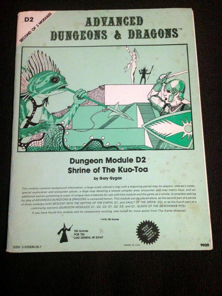 TSR AD&D Dungeons & Dragon D2 Shrine of the Kuo-Toa module 1978 monochrome