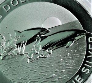 NEW! 2021 Fraser's Dolphin .999 1 oz Silver BU  coin Australia BU in cap