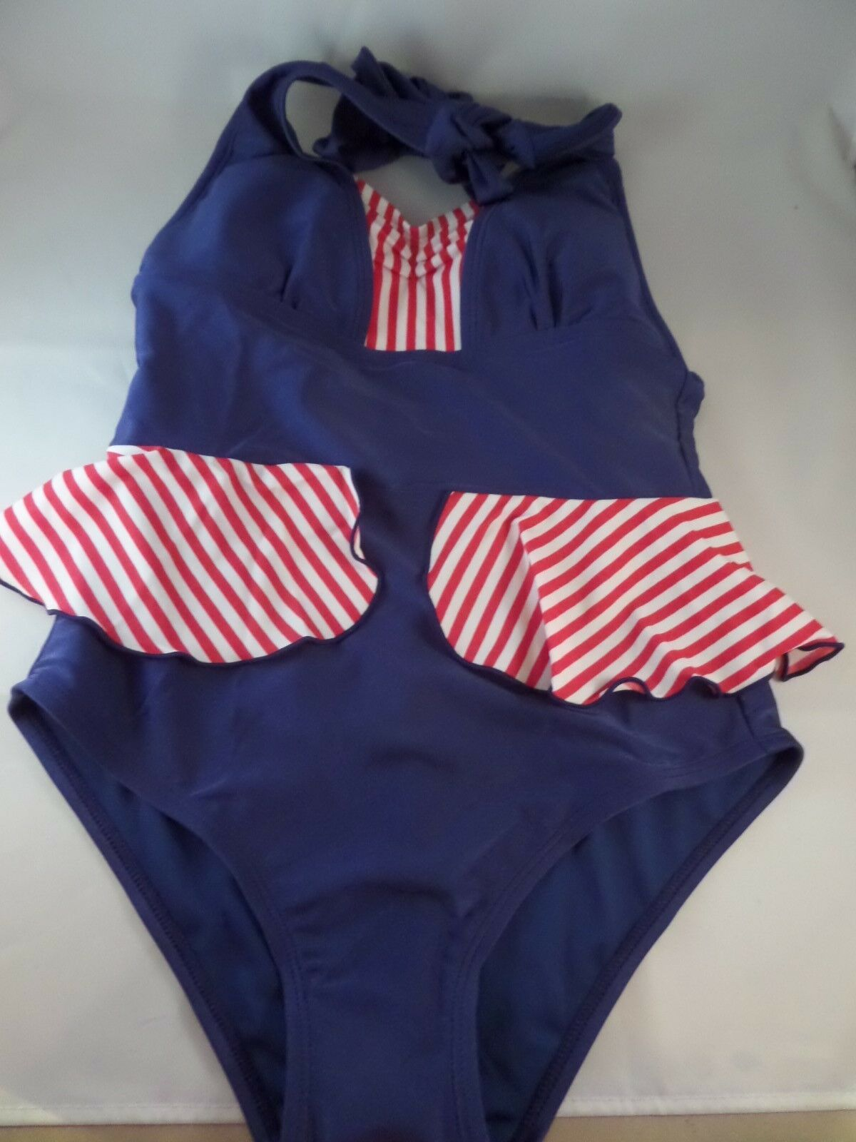 NWT Star in Stripes Fables by Barrie 1pc Mazzie Swimsuit Vintage Retro Sz Large