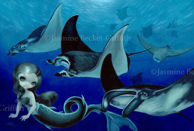 Jasmine Becket-Griffith art print marine fairy fish sea SIGNED Manta Ray Mermaid
