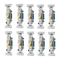 10x 15-amp Single-pole Ivory Beige Tan Home Toggle Electrical Wall Light-switch