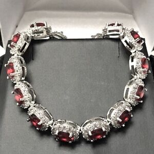 Gorgeous-Oval-Red-Ruby-Tennis-Bracelet-Wedding-Anniversary-Women-Jewelry-Gift