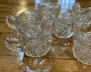 Antique-ABP-American-Brilliant-Period-7-punch-cups-multi-pointed-hobstar-glass