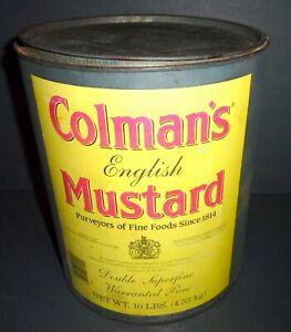VINTAGE COLMAN'S MUSTARD LARGE ROUND TIN VINTAGE  KITCHEN 10 LBS.