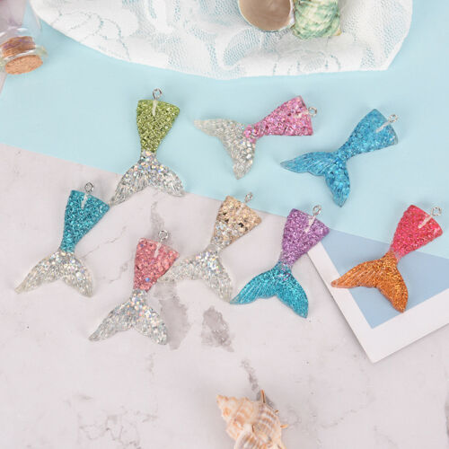 10X Mixed Glitter Mermaid Fish Tail Charm Resin Pendant Fit Bracelet//Necklace JJ