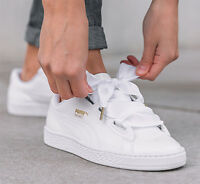Puma Basket Heart White Uk Us 3 4 4.5 5 5.5 6 6.5 7 7.5 8 8.5 9 10 Patent Satin