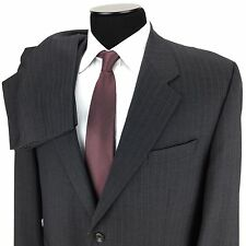 RALPH LAUREN Mens 46R 40 Gray White Pinstripe 2-Button Wool Suit ~ Pleated Pants