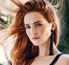 2017 Oscar de la Renta Long Beaded Tassel Black Dress Signed Statement Earrings
