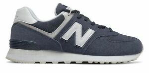 New Balance Men's 574 Shoes Navy with White