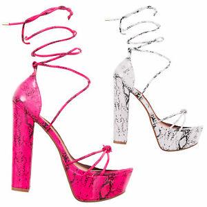 Sandali donna scarpe schiava pitonate lacci plateau tacchi TOOCOOL R2L2605-5