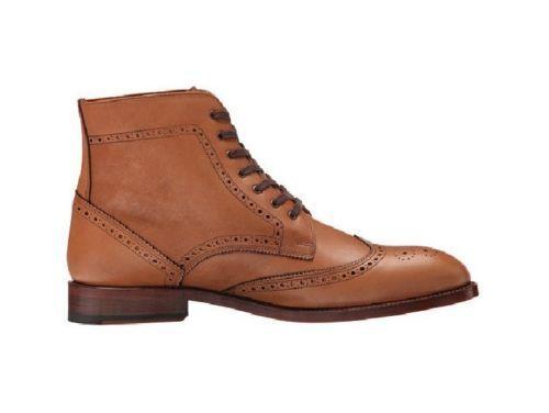 botas para Hombre Chelsea Hecho a Mano Marrón punta del ala perforado cordones de cuero zapatos de arriba