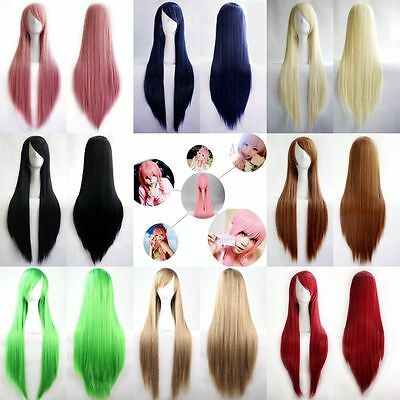 """80cm/32""""~Fashion Womens Multicolor Long Straight Wig Anime Cosplay Party Wigs"""