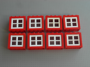Good Condition - 4132 4133 8 Windows in Red /& White Lego