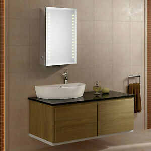 saturn led illuminated bathroom mirror cabinet infra red