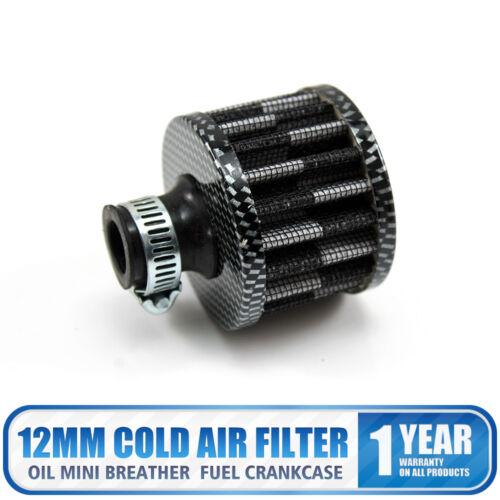 12mm Filtre Admission Air Froid Bouchon Voiture Moto échappement Reniflard Noir