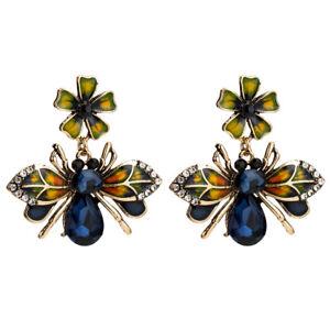 Ohrringe-Chandelie-Golden-Insekt-Biene-Blau-Navy-Emaille-Gruen-AA29