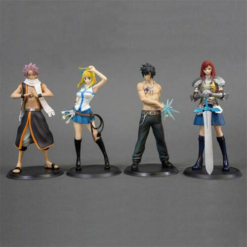 4pcs Anime Fairy Tail Natsu Dragneel Gray Lucy Erza PVC Toys Figure Set No Box